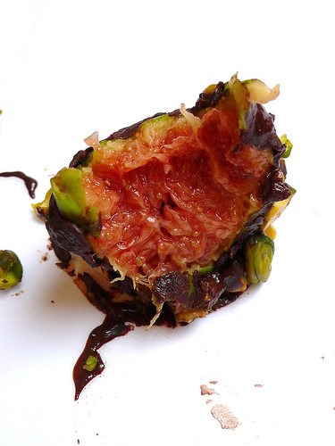 Chocolate and pistachio covered figs