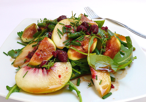 Green bean, rocket, peach and fig salad with a raspberry and balsamic ...