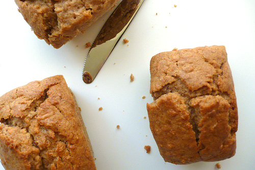Apple and chestnut mini loafs with hazelnut sauce