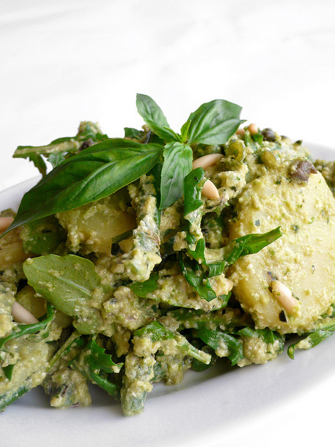 Green bean and potato salad with pine nuts, capers and basil pesto