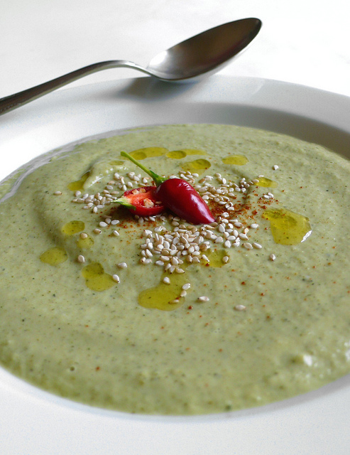 Cream of broccoli soup with tahin