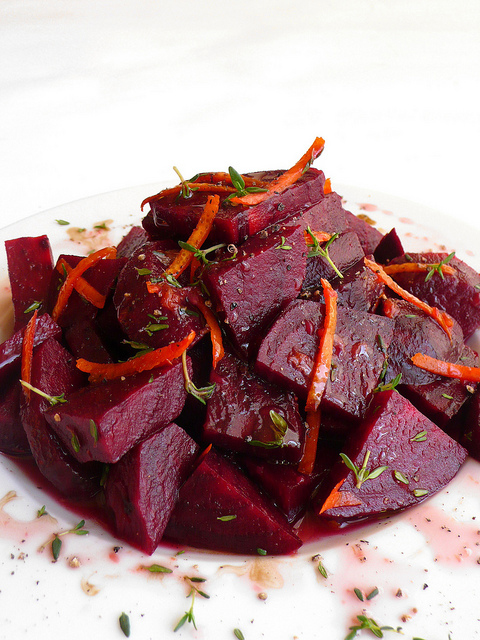 Marinated beet salad with orange, thyme and balsamic vinegar