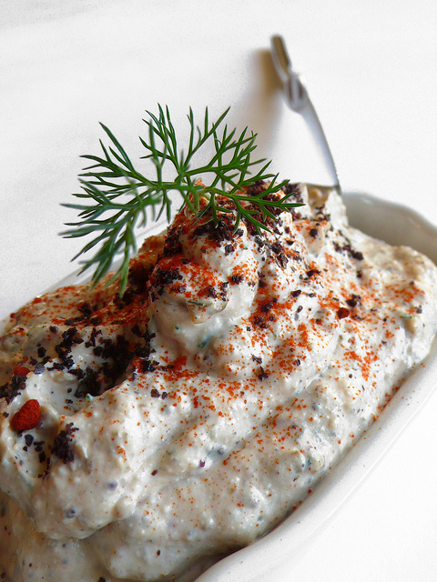Labne dip with capers and dill (with paprika and sumac)