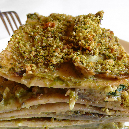 Asparagus, spinach and porcini lasagne with hazelnut and basil