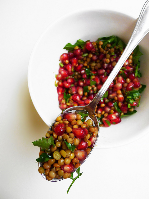 Lentil and pomegranate salad with parsley, cumin and coriander